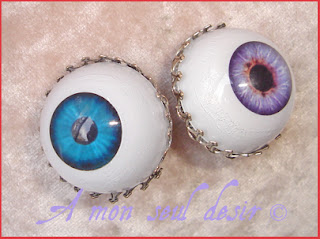 Boutons de manchette oeil yeux gothique cyclope zombie gothi goth eye cuffllinks