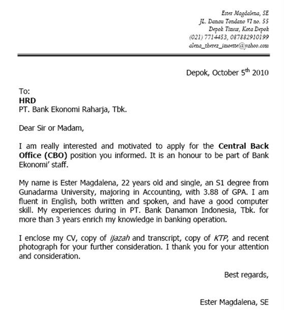 Contoh Surat Lamaran Kerja Bahasa Inggris Resmi Yang Baik