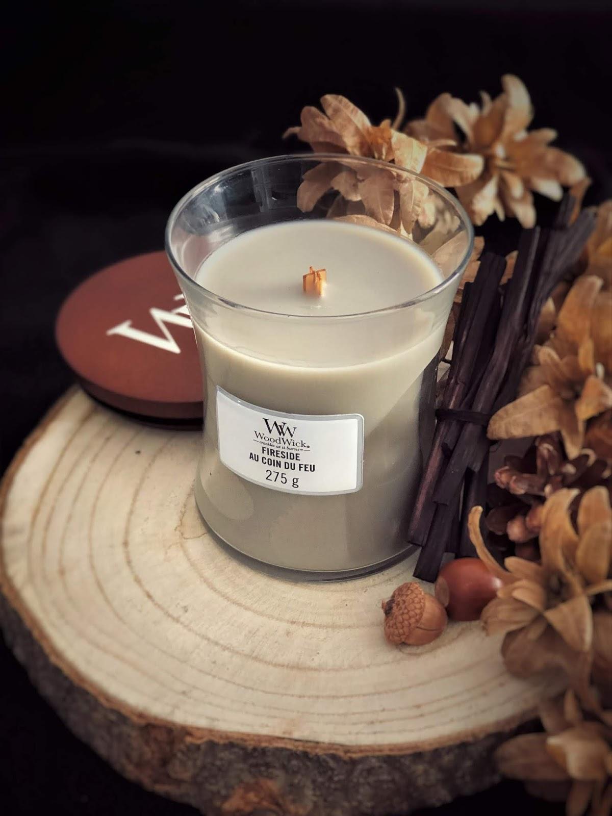 Zapach palącego się drewna zamknięty w świecy