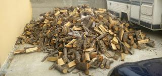 Pile of wood outside