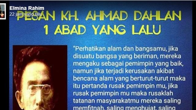 Muhammadiyah Telurusi Pesan KH Ahmad Dahlan soal Kaitan Bencana dengan Pemimpin