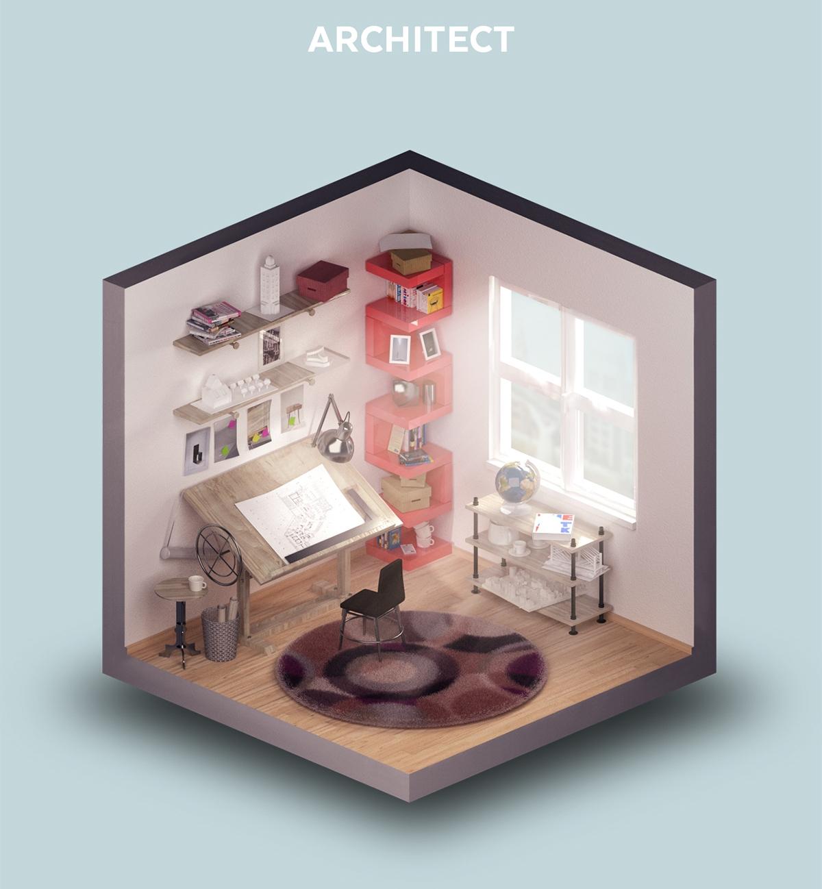 01-Room-of-an-Architect-Petr-Kollarcik-Digital-Interiors-Design-and-Modern-Nomads-illustrations-www-designstack-co
