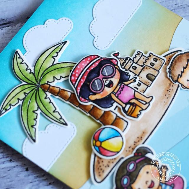 Sunny Studio Stamps: Seasonal Trees Critter Campout Coastal Cuties Beach Babies Fluffy Clouds Summer Card Camping Card by Lexa Levana and Rachel Alvarado