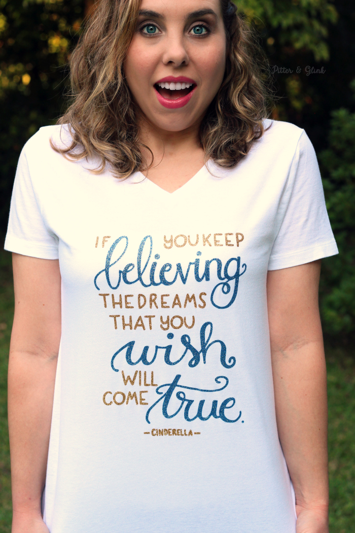 Glittery Hand-Lettered Cinderella Quote T-shirt DIY