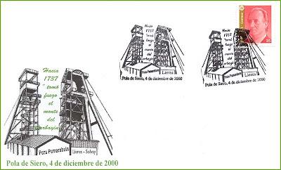 Sobre con matasellos de los orígenes de la minería hulllera en la Cuenca Central Asturiana: Lieres y Pumarabule, Grucomi, Siero 2000