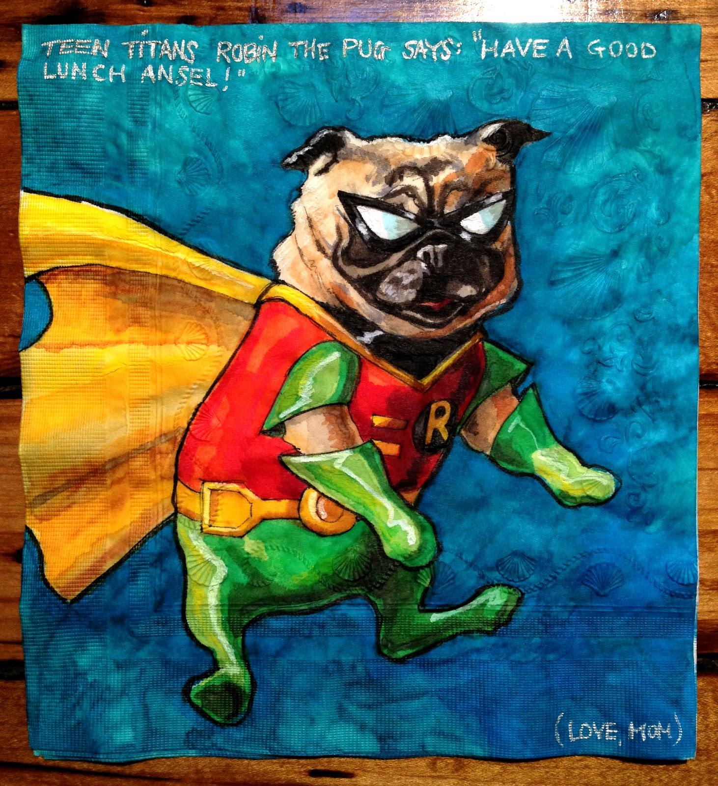 Daily Napkins Teen Titans Robin Pug