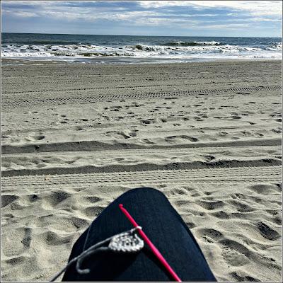 January 28, 2019 Crocheting on the beach.