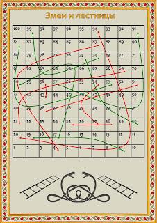 """Игра """"Змеи и лестницы"""", сгенерированная  при помощи программы """"Hodilka master"""""""