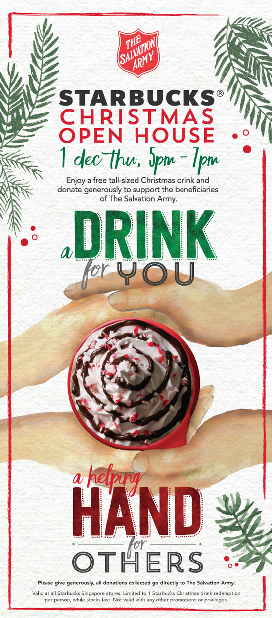 the annual starbucks christmas charity event is happening tomorrow 1 december 2016 at all starbucks stores islandwide from 5 7 pm