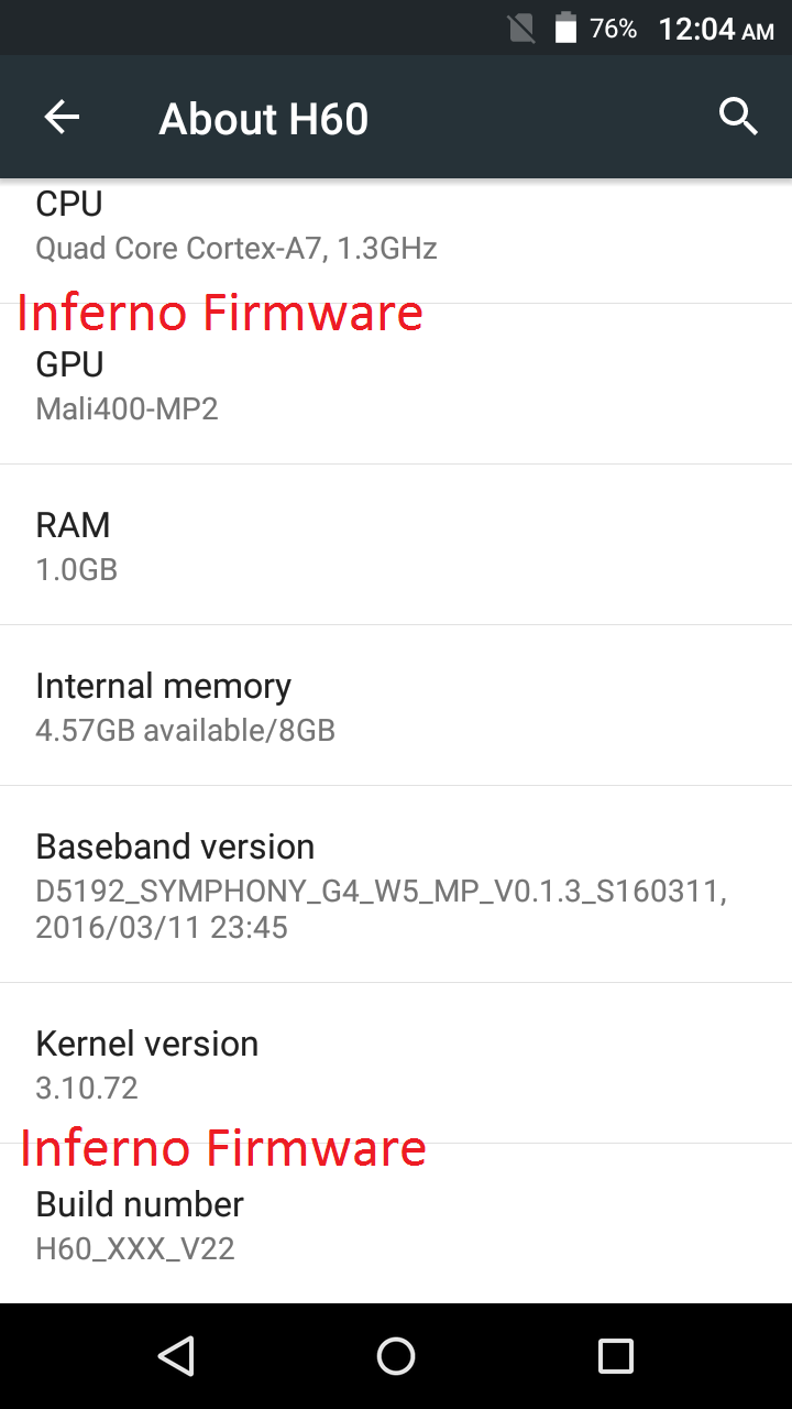 Inferno Firmware: Symphony H60 MT6580 IMEI Repair File