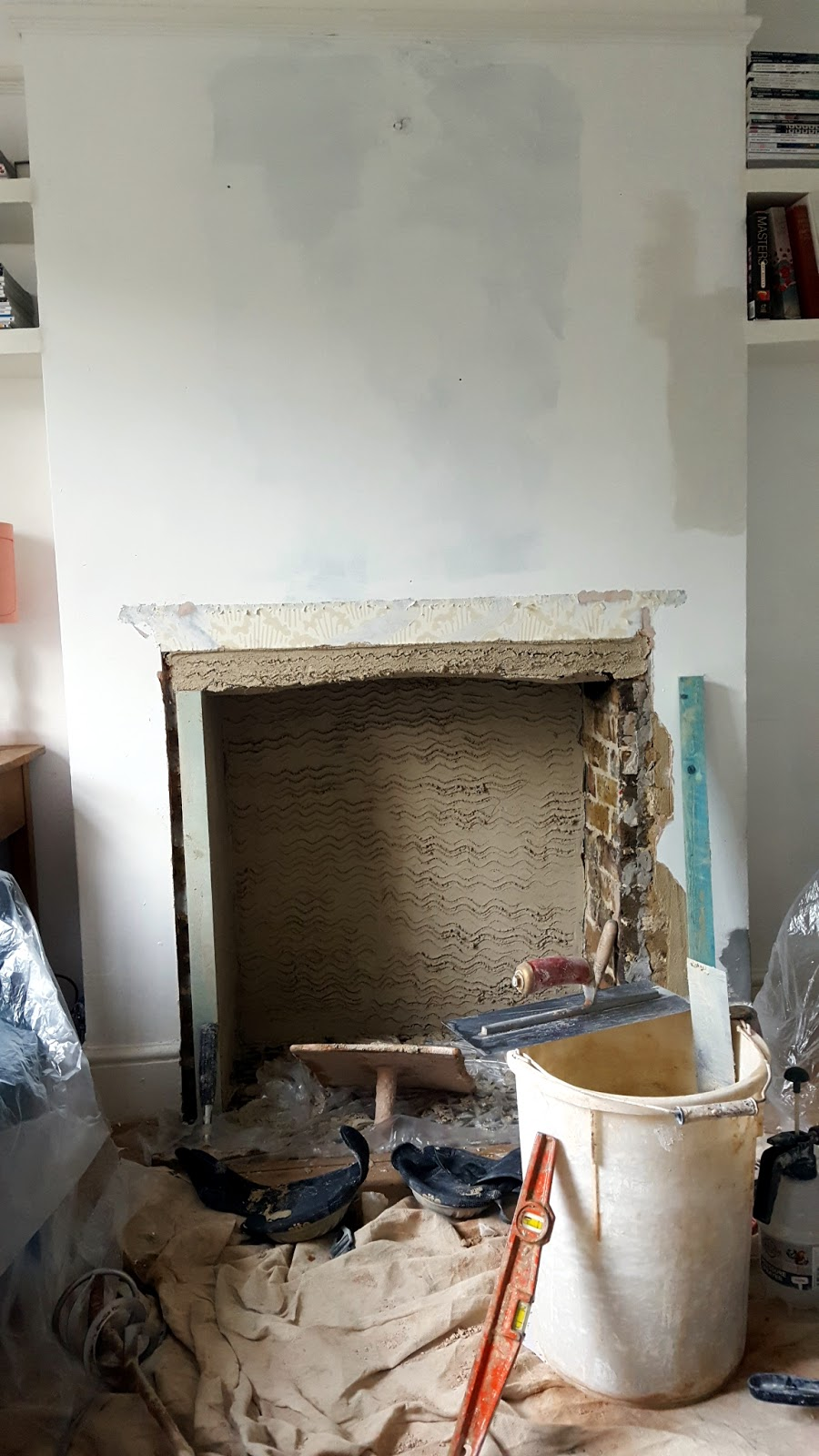 rendering chimney breast with lime plaster heritage plastering