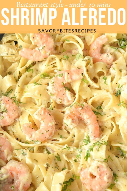 A close up of creamy delicious homemade shrimp alfredo
