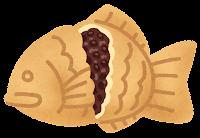 たい焼きのイラスト(つぶあん)