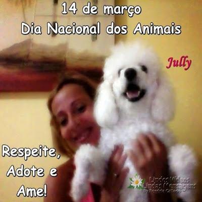 14 de março  Dia Nacional dos Animais Respeite, Adote e Ame!