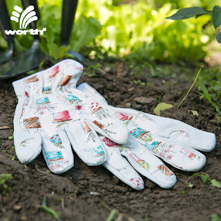 white leather garden gloves