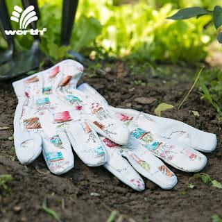 white leather garden gloves