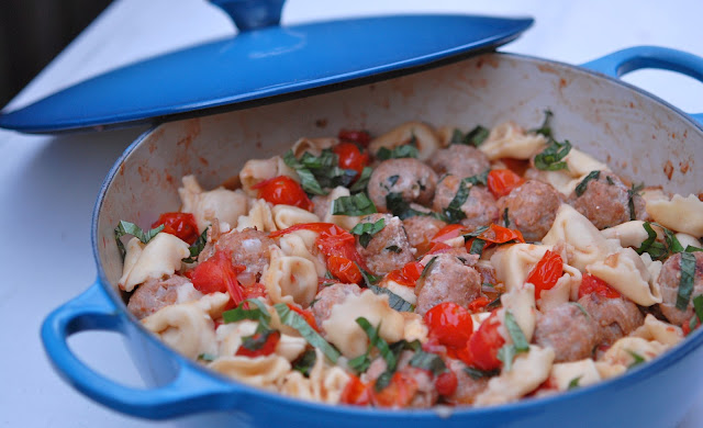 turkey meatball tortellini pasta cherry tomatoes one pot dinner