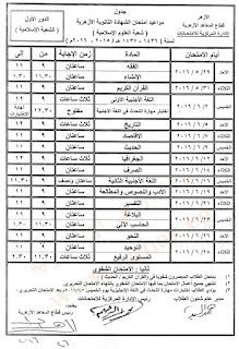 جدول امتحانات الثانويه الازهريه 2016