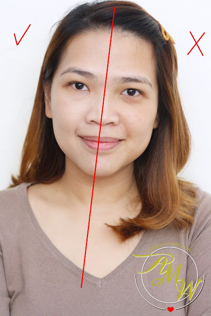 half face photo using Belo Intensive Whitening Tone Correcting BB Cream