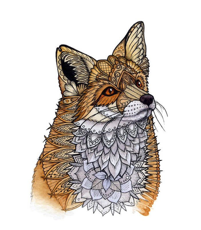 09-Fox-Z-H-Field-Distinctive-Animal-Drawings-and-Paintings-www-designstack-co