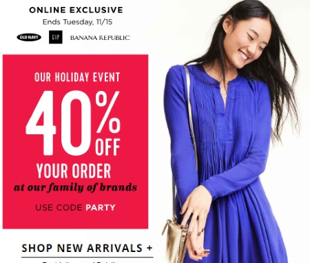 Old Navy, Gap & Banana Republic Holiday Event 40% Off