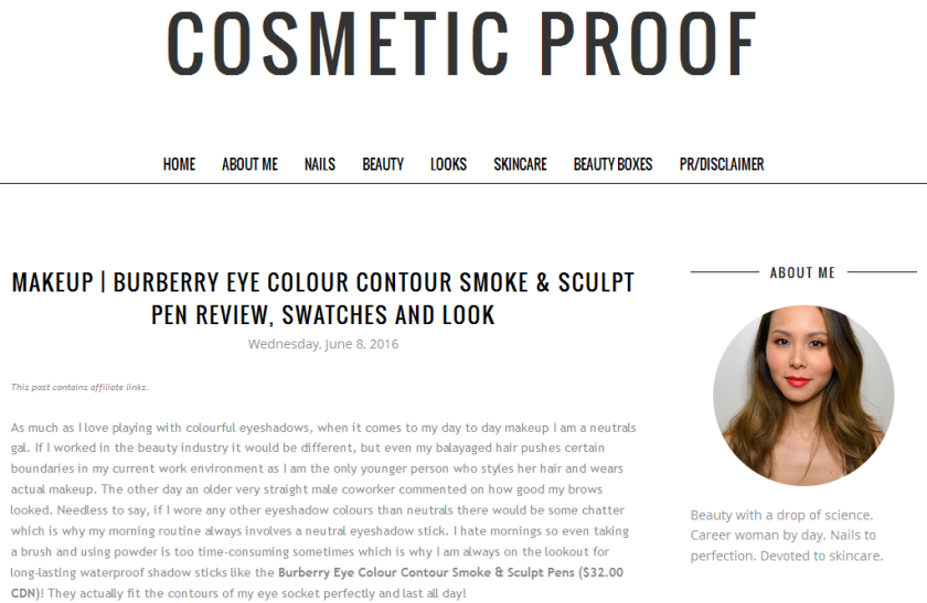 bbloggers, bbloggersca, canadian beauty bloggers, blog of the month, cosmetic proof, featured