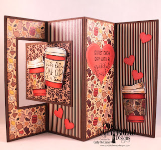 Our Daily Bread Designs Stamp/Die Duos: Hug In A Mug, Paper Collections: Latte Love, Fall Favorite, Custom Dies: Lever Card, Lever Card Layers, Pierced Squares, Pennant Flags, Layering Hearts