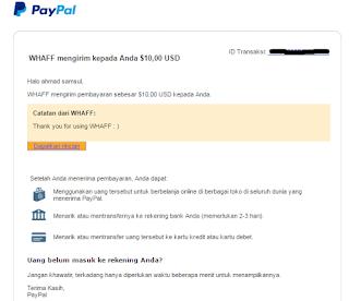 Bukti Whaff ke PayPal