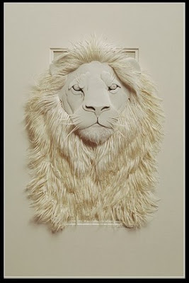 Lion from paper sculpture
