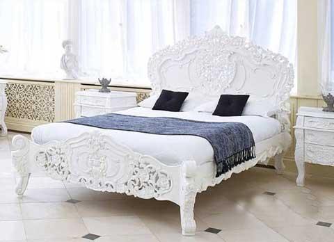 tempat tidur jati putih