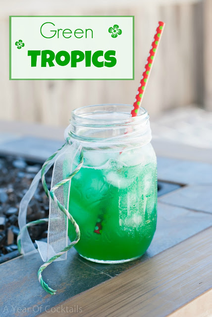Green Tropics cocktail recipeGreen Tropics cocktail, coconut rum, malibu rum, pineapple juice, blue curacao, melon liqueur, midori
