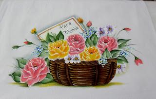 """""""pano de copa com cesta e rosas, dia das maes"""""""