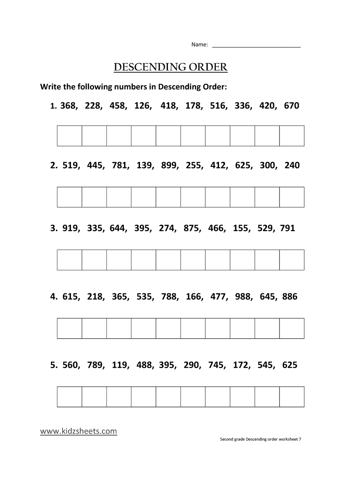 Kidz Worksheets Second Grade Descending Order Worksheet7
