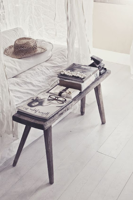Rustic farmhouse bench at end of bed by Hannah Lemholt