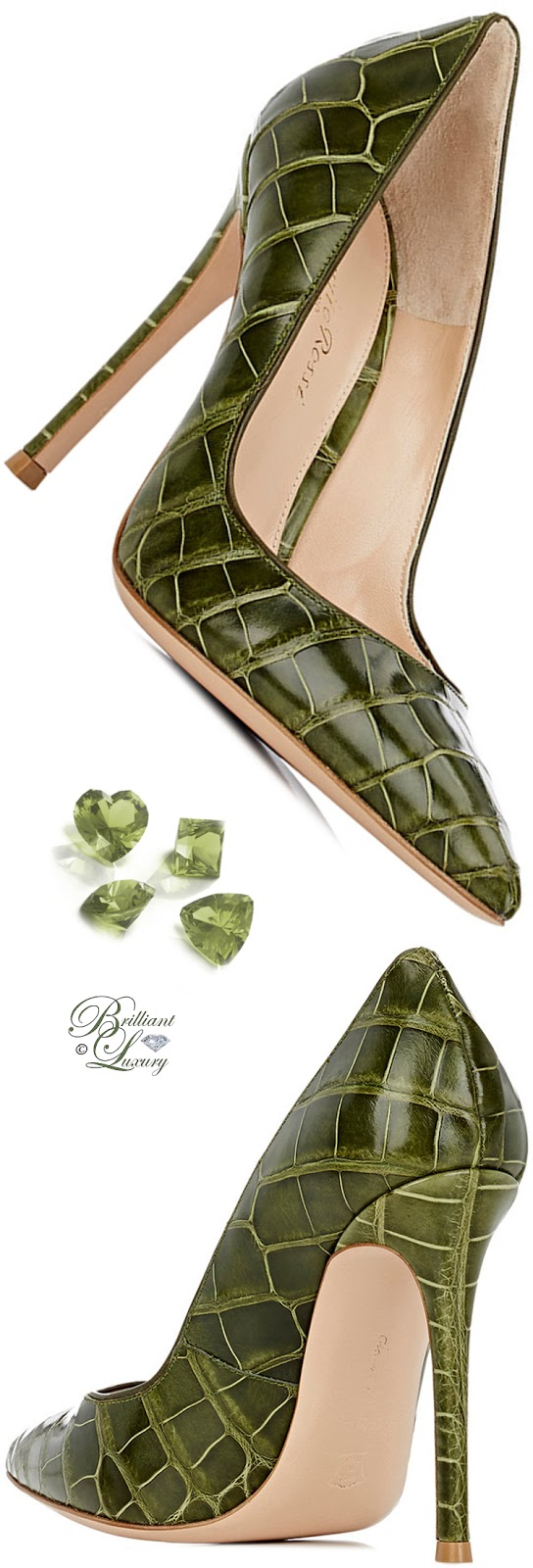 Gianvito Rossi Green Gianvito Alligator Pumps #shoes #pantone #brilliantluxury
