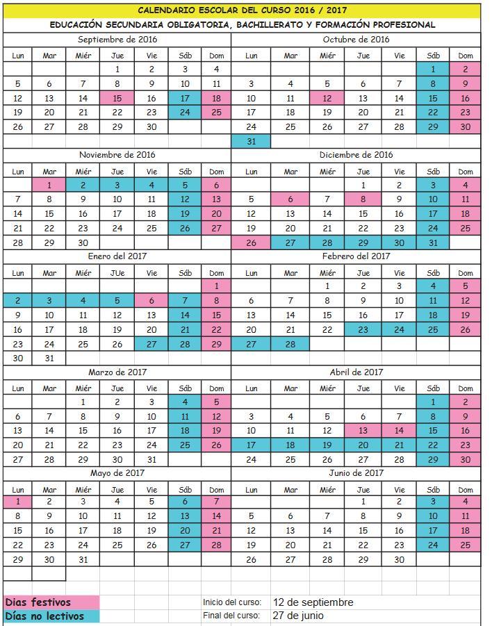 ... Carnaval Febrero: Calendario escolar 2016-2017 Cantabria ESO