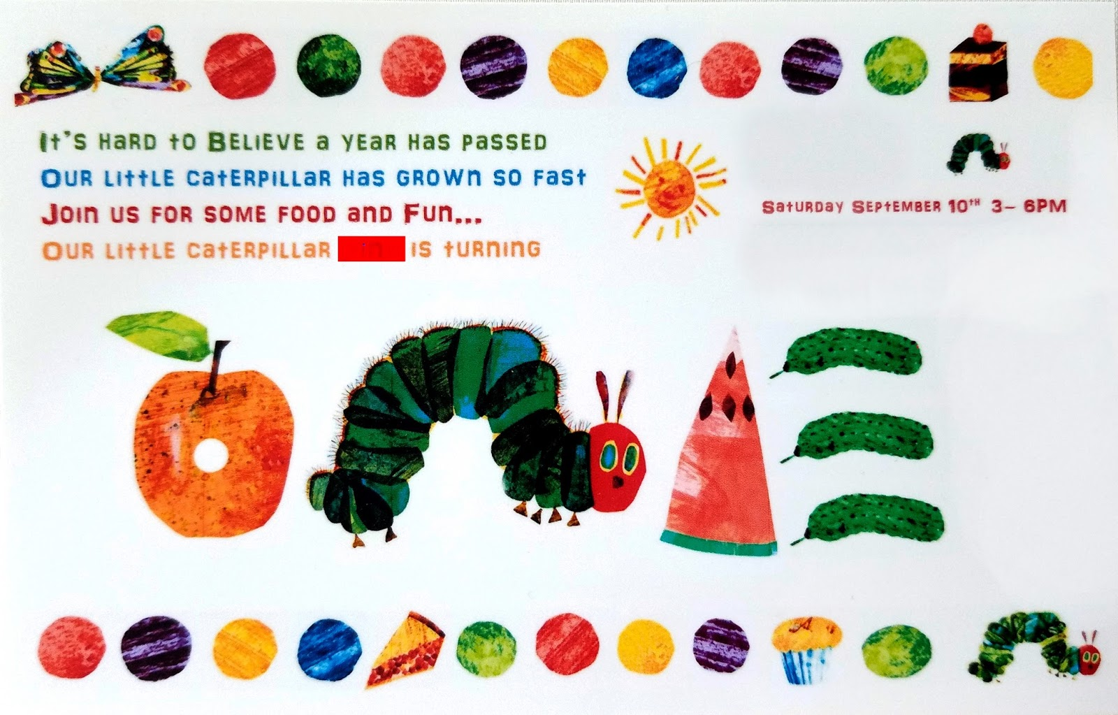 Chris Dodsley mbCD The Very Hungry Caterpillar Quilt – Eric Carle Birthday Invitations