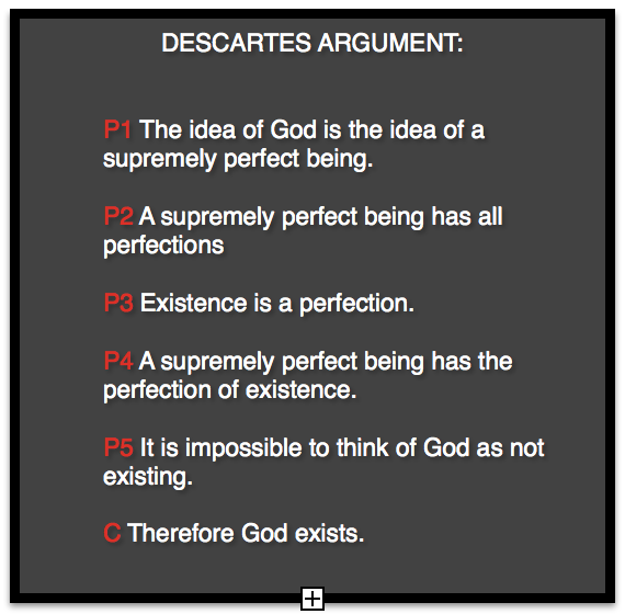 descartes trademark argument for gods existence The ontological argument this is the a priori argument : prior to considering the existence of the physical universe this is reasoning without bringing in any consideration of the existence of the universe or any part of it.