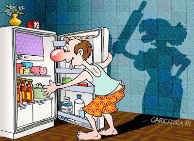 Comic witzige - Mann und Frau - Ehepaar in der Küche