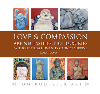 The many faces of buddha by Boulder artist Tom Roderick