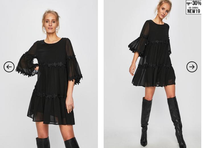 Answear - Rochie neagra scurta cu voal eleganta