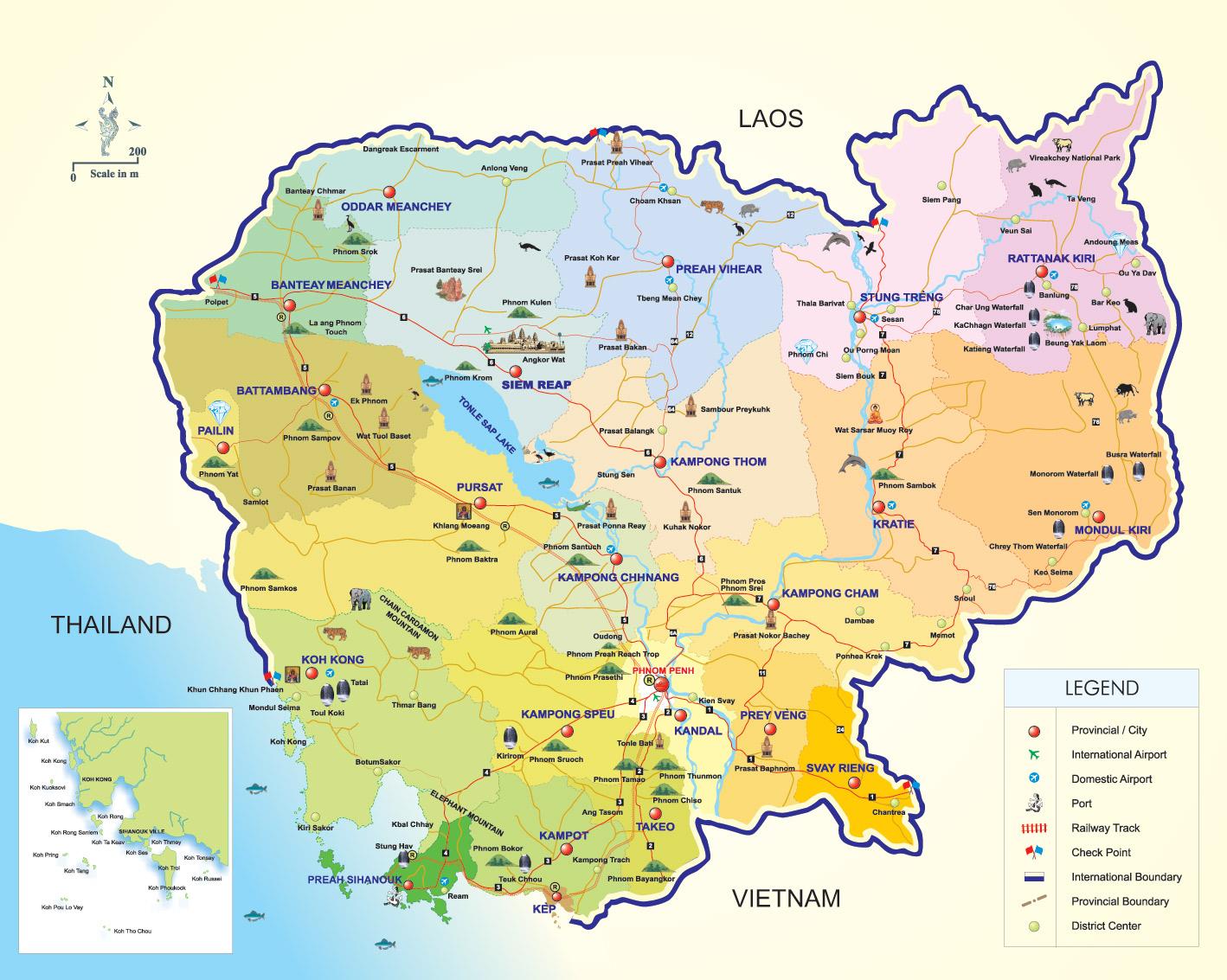 Camboja | Mapas Geográficos do Camboja