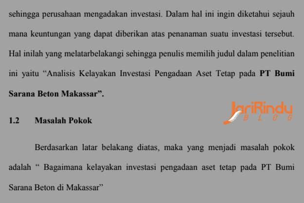 Skripsi Analisis Kelayakan Investasi Pengadaan Aset Tetap Ian