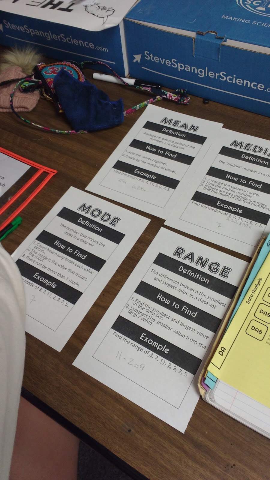 Our Notes For Mean, Median, Mode, And Range Were Placed In A Nifty Pocket  Some Students Chose Not To Make A Pocket And Instead Stapled The Pages  Together