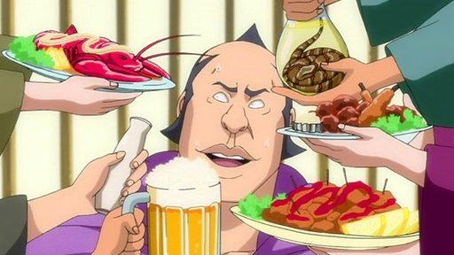captura anime: le ofrecen a un shinigami diferentes platos, cerveza, sake, langosta, pollo frito, serpiente, albóndigas con puré