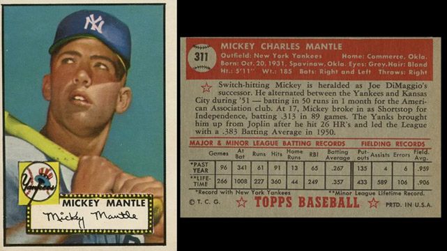 Uncle Scoopys Ballpark Mint 1952 Topps Mickey Mantle Card 113