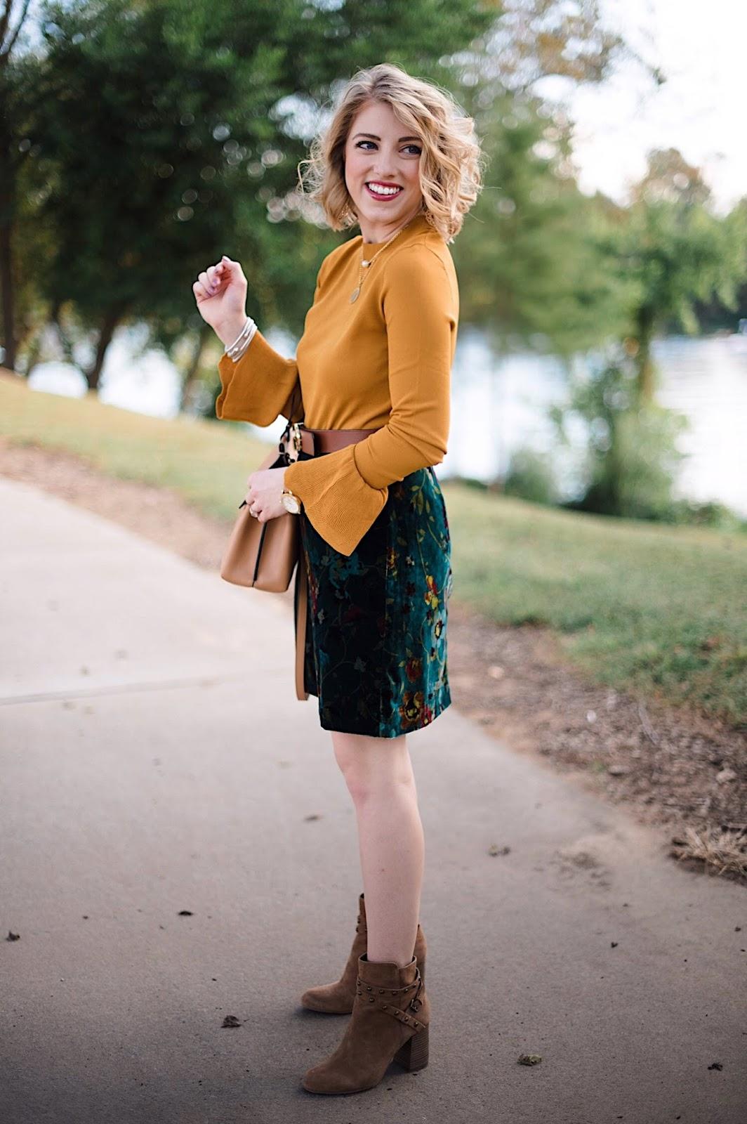 Velvet Skirt & Mustard Yellow Bell Sleeve Sweater - Something Delightful