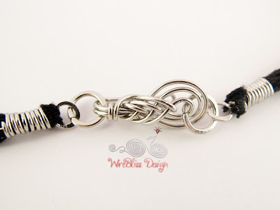 Wire wrapped hook/clasp on leather