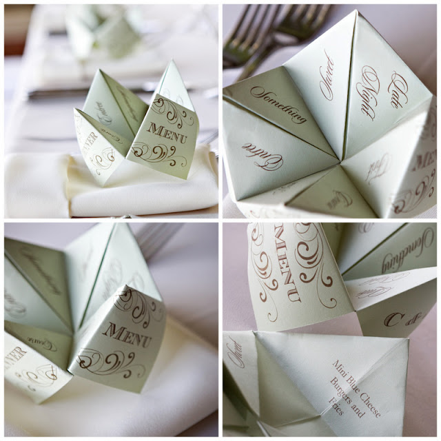 DIY cootie catcher wedding menus via Oh Lovely Day photo by Jennifer Roper