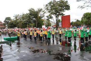 Penampilan Terbaik Anggota TNI, Persit dan Polres Cilacap, Latihan Senam Gemu Famire